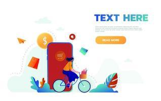bestemmingspagina sjabloon van online winkelen. modern plat ontwerpconcept webpaginaontwerp voor website en mobiele website. gemakkelijk te bewerken en aan te passen. vector illustratie.