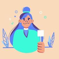 cartoon vectorillustratie van portret van vrouw vector