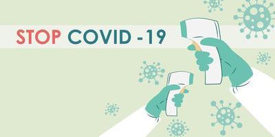 digitale thermometer ter preventie van coronavirus van covid. vector