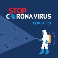 persoonlijke beschermingsmiddelen coronavirus-ziektekiemen verwijderen door het sproeien van ontsmettingsmiddel vector