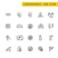coronavirus dunne lijn icon set, covid-19 symbolen collectie