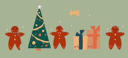 set van vakantie schattige kawaii peperkoek, geschenken en kerstboom