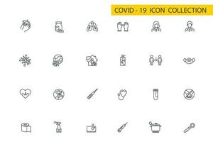 coronavirus, covid-19 pictogrammenset in dun lijnstijl vector illustratie grafisch ontwerp