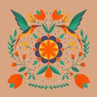 bloemen volkskunst met vogels vierkant patroon in moderne stijl, scandi vectorillustratie vector