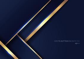 abstracte elegante blauwe geometrische overlappingslagen met streep gouden lijnen en verlichting op donkerblauwe achtergrond. vector