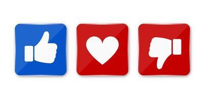 duim omhoog, omlaag en hart pictogram. vector zoals, afkeer en liefde pictogram. klaar vind ik leuk, niet leuk en liefde knop voor website en mobiele app.