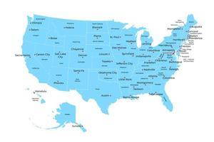 kaart van de verenigde staten van amerika met staten en hoofdsteden. vector