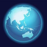 wereldbol kaart. China, Australië, Oost-Azië gecentreerde kaart. blauwe planeet bol pictogram op een donkere achtergrond. vector