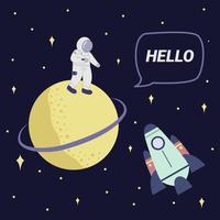 Astonaut zegt hallo tegen Saturn Vector