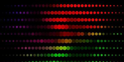 donker veelkleurig vectorpatroon met cirkels.