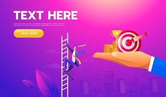 vector bedrijfsconcept met zakenman op een ladder met telescoop. symbool van leider, leiderschap, ambitie, motivatie. vector illustratie.