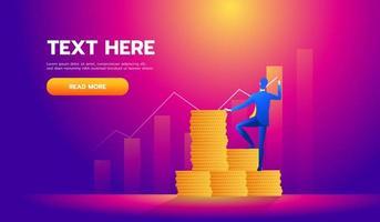 Financiën bedrijfsconcept, investeerder schrijft een grafiek - vector illustratie.