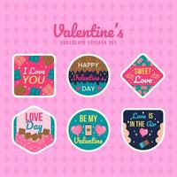 Valentijnsdag chocolade met tekst sticker set vector