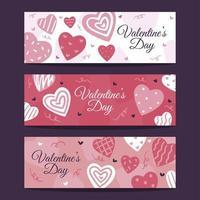 hand getekend Valentijnsdag hart banner vector