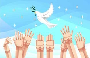mensenrecht met vreedzame witte duivenvogel vector