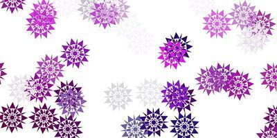 lichtroze vectorpatroon met gekleurde sneeuwvlokken.