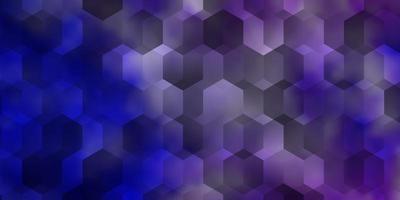 lichtroze, blauwe vectorachtergrond met zeshoeken. vector