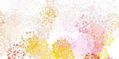 lichtroze, gele vectorlay-out met mooie sneeuwvlokken.
