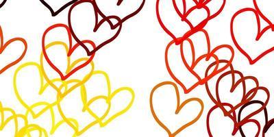 lichtoranje vectortextuur met mooie harten.