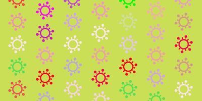 lichtroze, groen vectorpatroon met coronaviruselementen.