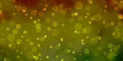 lichtgroene, gele vectortextuur met cirkels, sterren. vector