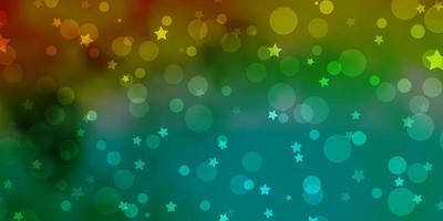 lichtgroene, gele vectorlay-out met cirkels, sterren. vector