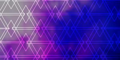 donkerroze, blauw vectorpatroon met veelhoekige stijl. vector