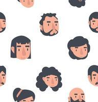avatar gezichten naadloze patroon achtergrond vector