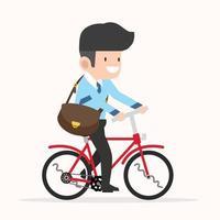 zakenman fietsen om cartoon te werken vector