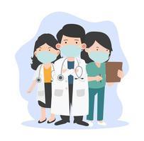 artsen en verpleegster met gezichtsmaskers