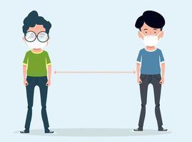 jongeren met gezichtsmaskers sociaal afstand nemen