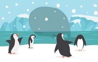 noordpoollandschap met schattige pinguïns