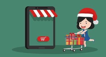 meisje dat online winkelt voor kerstmis vector