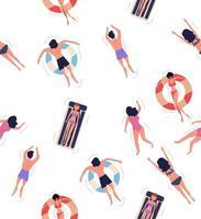 mensen drijvend op het zwembad bovenaanzicht naadloze patroon achtergrond