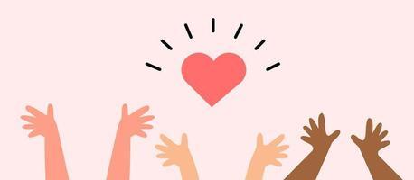 handen omhoog met een rood hart-pictogram vector