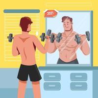 gezond omvangrijk lichaam nieuwe jaarresolutie vector