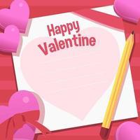 roze liefdesbrief voor valentijn dag vector