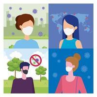 stel scènes in van mensen die een gezichtsmasker met deeltjes gebruiken covid 19
