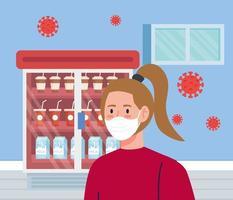 vrouw met gezichtsmasker in supermarkt met deeltjes covid 19