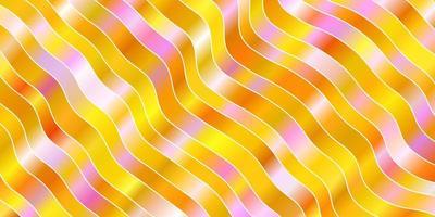 lichtroze, geel vector sjabloon met gebogen lijnen.
