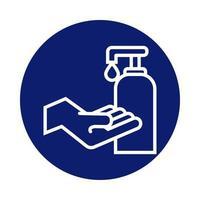 handen wassen met antibacteriële zeepflesblokstijl
