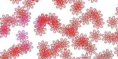 lichtroze, rode vector natuurlijke achtergrond met bloemen.