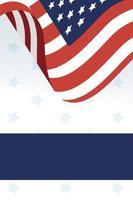 vlag van de VS en blauw frame vector ontwerp