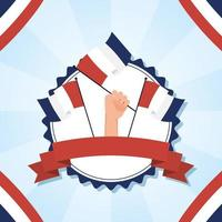 hand met de vlag van Frankrijk voor gelukkig bastille-dag vectorontwerp