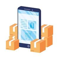 online e-commerce met smartphone en dozen