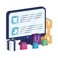 online e-commerce op desktop met boodschappentassen en kleding