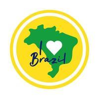 Ik hou van Brazilië zegel met kaart platte stijlicoon
