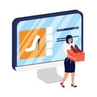 online e-commerce op desktop met vrouw die hakken koopt