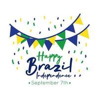 gelukkige onafhankelijkheidsdag brazilië kaart met slingers vlakke stijl