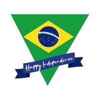 gelukkige onafhankelijkheidsdag brazilië kaart met vlag in driehoek vlakke stijl